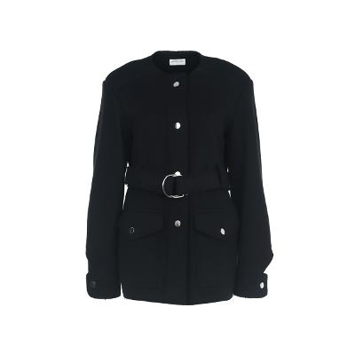 silver button belted coat black